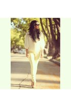 Steve Madden shoes - Prada sunglasses - yellow rag & bone pants - Zara top