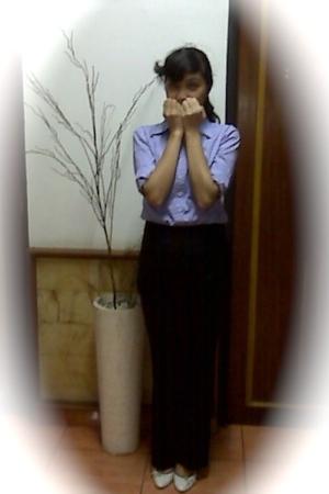 purple shirt Executive shirt - black pants Atmosphere pants