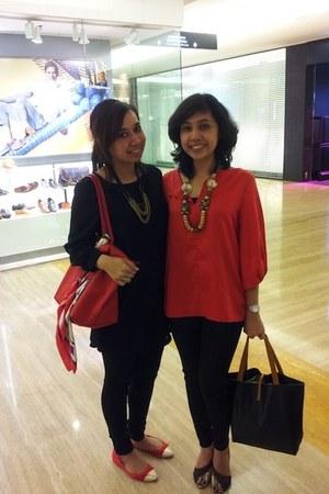 red satin no brand blouse - black Guess pants - dark brown Charles & Keith heels