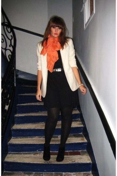 blazer - COS scarf - SANDRO dress - belt
