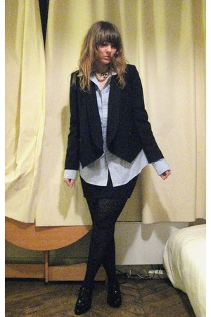 Zara blazer - American Apparel shirt - American Apparel skirt - H&M socks