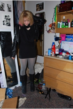 H&M jacket - aa scarf - top - UO tights - boots