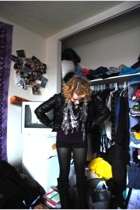 black faux leather H&M jacket - black Ebay boots - purple Gap sweater