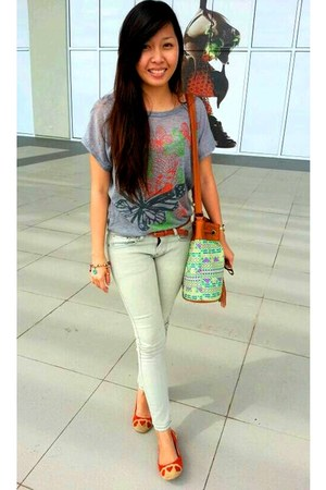 aztec Laidback Orange bag - gray Guess pants - suede So FAB flats - belt belt