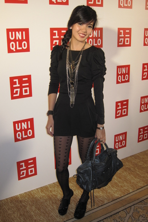 black Topshop dress - gray balenciaga accessories - black Topshop stockings - bl