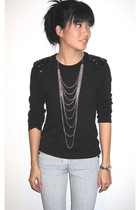 DIY t-shirt - DIY necklace - sass & bide jeans