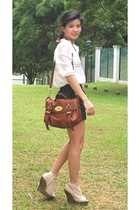 beige tick Jeffrey Campbell shoes - brown alexa Mulberry bag