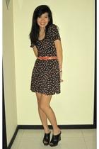 black Miss Selfridges dress - red unknown brand belt - black Steve Madden shoes