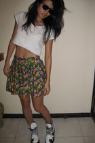 H&M t-shirt - DIY skirt - Ray Ban glasses - doc martens shoes