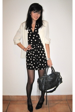 thrifted blazer - Topshop dress - Anne Klein shoes - balenciaga purse