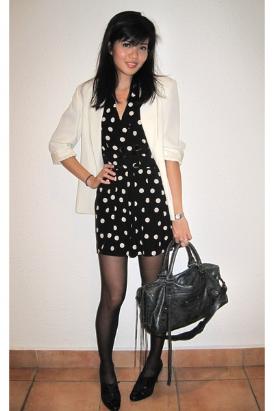 thrifted blazer - Topshop dress - Anne Klein shoes - balenciaga purse