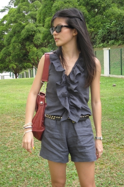 DIY shorts - Ray Ban accessories - balenciaga purse - Topshop belt - pedder red