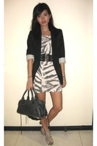 Zara blazer - Zara dress - H&M belt - balenciaga purse - Aldo shoes