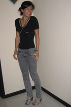 American Apparel top - 7 for all mankind jeans - Topshop belt - Aldo shoes