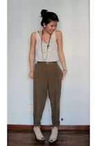 white unknown top - brown Zara pants - beige Jeffrey Campbell shoes - black Fore