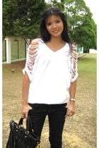 DIY t-shirt - Cheap Monday jeans - Miu Miu purse - Zara shoes