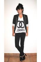 Zara blazer - DIY t-shirt - Cheap Monday jeans - PedderRed shoes