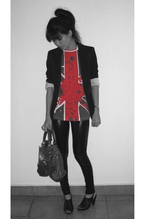 Zara blazer - Zara t-shirt - forever 21 leggings - balenciaga purse - PedderRed