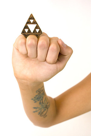 light brown triangle ring