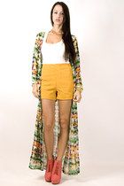chartreuse sheer colorful jacket - gold high waisted shorts