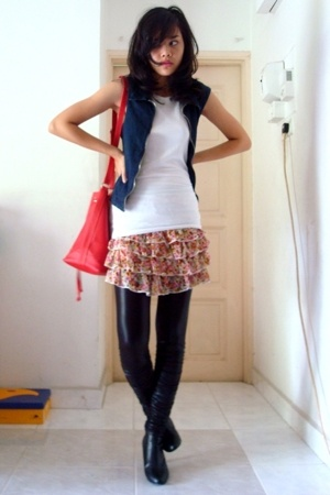 DKNY vest - shirt - pull&bear skirt - - forever 21 leggings