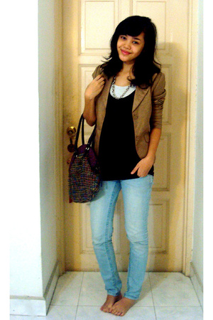 blazer - Topshop shirt - Hanes - homemade - Guess jeans - Zara purse