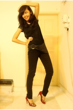 giordano top - Secondhand vest - forever 21 jeans - Trucco shoes