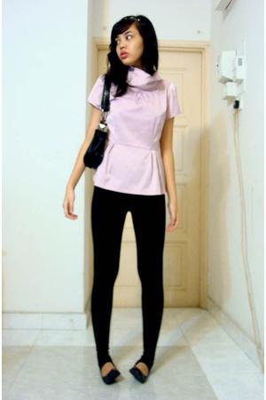 top - leggings - Topshop purse - shoes
