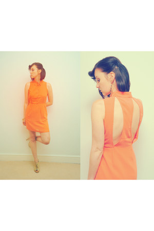 orange Urban Outfitters dress - beige Burberry shoes
