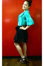 green jacket - white Topshop shirt - black skirt - black shoes