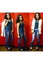 blue Mango top - blue jeans - black shoes - beige blazer - blue belt