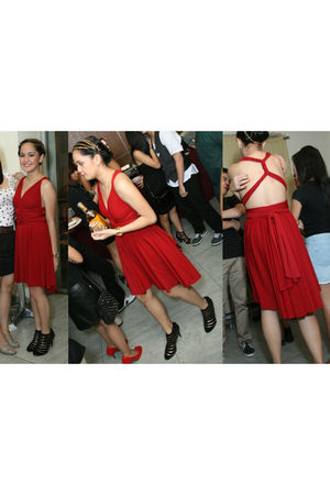 red dress - black Charles & Keith shoes - gold accessories