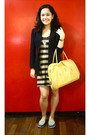 Brown-dress-black-blazer-gray-sanuk-shoes-yellow-estee-lauder-accessories-