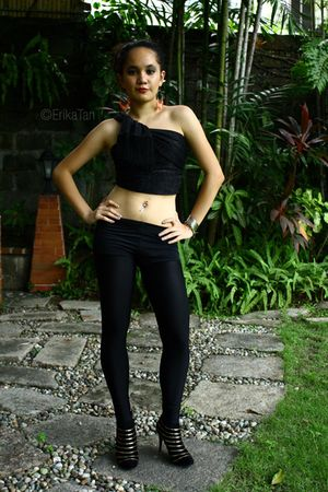 black scarf - black leggings - black swimwear - black Charles and Keith shoes -