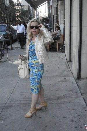 gold Gap jacket - versace dress - neutral satchel Elliott Lucca bag