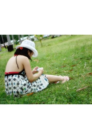 dress - white straw hat hat - Topshop swimwear