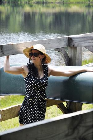 black dress - beige hat - dark brown sunglasses