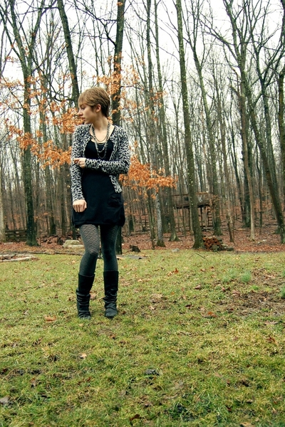 forever 21 sweater - H&M dress - Target stockings - Aldo boots - Forever21 neckl