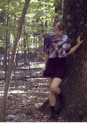 purple DIY top - black H&M skirt - black H&M shoes