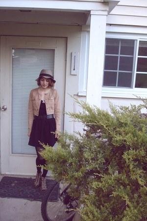 camel leopard print H&M shoes - black pixiemarket dress - heather gray H&M hat -