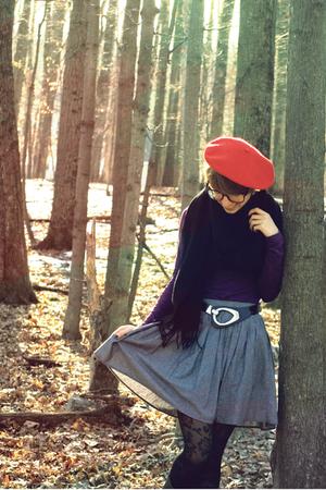 gray American Apparel skirt - purple American Apparel dress - black Forever 21 -
