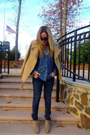 Forever 21 necklace - Marshalls boots - Old Navy coat - Vintage Havana jeans