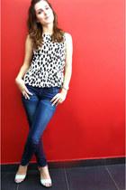 polka dots H&M top - skinny jeans Stradivarius jeans - sandals H&M heels