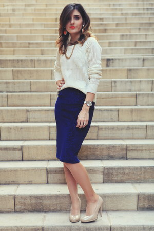 navy midi skirt Miss Selfridge skirt - cream TSC sweater