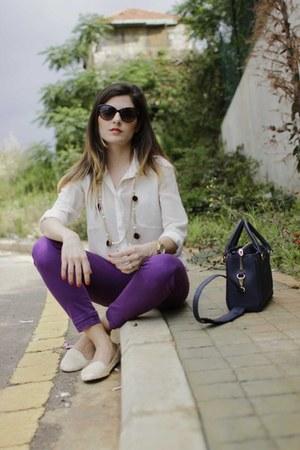 white silk shirt Topshop shirt - purple Liberto LTB jeans - navy Zara bag