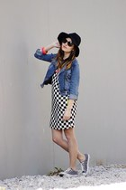 blue jeans jacket thrifted jacket - white black and white Zara dress