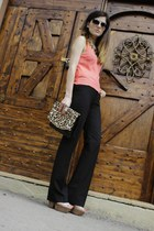 black leopard print Cortefiel bag - black wide leg pants Gap pants