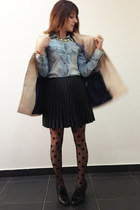 black tights - camel trench coat Stradivarius jacket - light blue Zara shirt