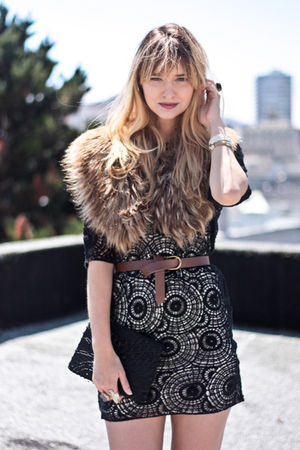 black vintage purse - black bird by juicy couture dress - brown H&M accessories