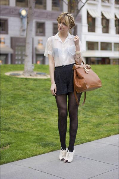 white vintage blouse - white modcloth shoes - brown storets blazer